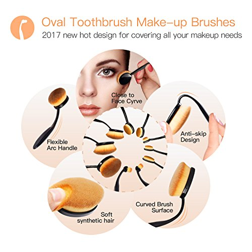 BESTOPE Makeup Brushes 10 Pieces Oval Makeup Brush Set Professional Contour Soft Toothbrush with Shaped Design for Powder Cream Concealer