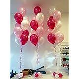Metallic HD Balloons, White/Pink/Red (Pack of 50)
