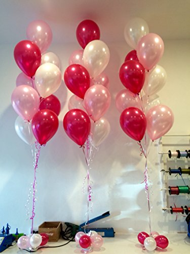 Magicwand Metallic HD Balloons (Pack of 50) (White Pink Red)