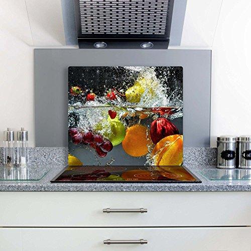 Gsmarkt | Herdabdeckplatte Schneidebrett Spritzschutz 60x52 | Bild auf Glas | Sicherheitsglas Gehärtetes Glas Bild | Motiv Früchte