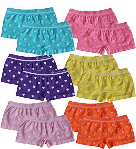 BestSale247 6 | 12 Stück Mädchen Pantys Hipster Shorts Girls Kinder Unterhosen Kids Unterwäsche Mikrofaser 92 bis 158 (92-104, 12 Stück Herz-Motiv) - Kind Hipster