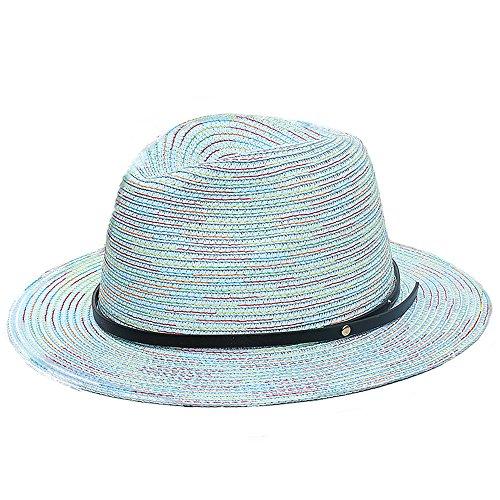 Chapeau Jazz Trilby Panama De Paille Soleil Femme Filles Ligne De Couleur bleu clair