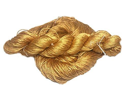 3-lagiges Maulbeerseidengarn von Knit Silk, einfarbig, 50g, 238 m, ideal zum Stricken, Häkeln, Weben und für Tapisserie senffarben -