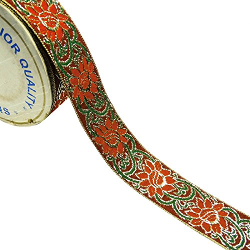 Maroon Trim Sari Border Floral Jacquard Ribbon 3,3 cm breit Trim von der Werft -