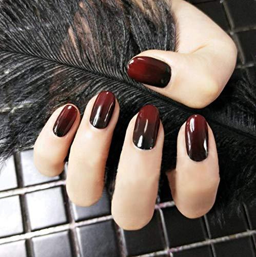 Weihnachten Künstliche Nägel, 12 verschiedene Größen, Farbverlauf in Rot und Schwarz, 24 Stück