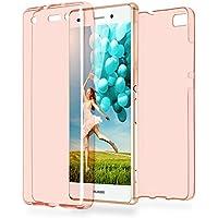 Doppia cassa come nome del Huawei P8 Lite | Trasparente Custodia in silicone copre l'intero | Thin 360° completa casi di smartphone per OneFlow | Quarta di copertina in Rosa