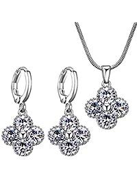 4599e76131fa carsinel Circonita Charm juego de collar pendientes de moda para las mujeres  niñas flor joyería. B072Q5PJZK
