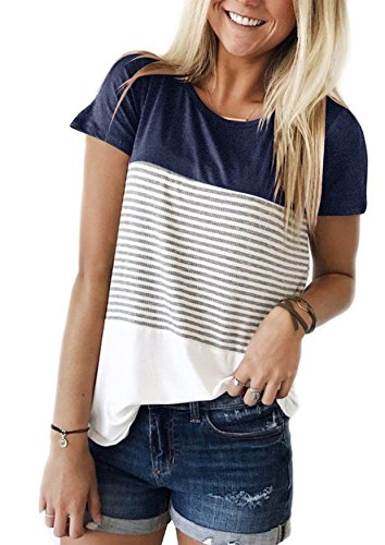 Yidarton Damen Sommer T-Shirt Casual Streifen Patchwork Kurzarm Oberteil Tops Bluse Shirt (Medium, Navy) - Gefärbtes T-shirt