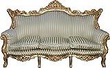 Casa Padrino Barock Wohnzimmer Set Master Jadegrün/Beige / Gold Mod2 – 3-er Sofa + 2 Sessel - 3