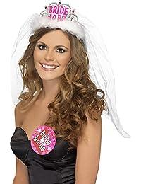 Smiffys, Damen Zukünftige Braut Diadem mit Schleier, One Size, Weiß, 31913