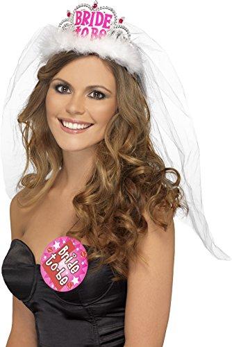 ftige Braut Diadem mit Schleier, One Size, Weiß, 31913 (Tiara, Schleier)
