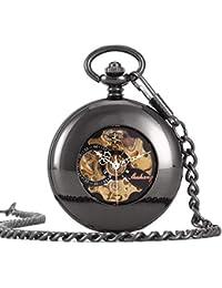 YUNDING Montre De Poche Romaine Vintage, Mouvement Antique/De Haute Précision/Équipement Steampunk, Fenêtre Transparente, avec Bracelet, Cadeau