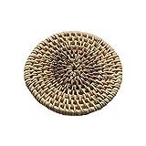 InvocBL Untersetzer aus geflochtenem Rattan, isolierend, Esstisch, rund, geflochten, Rattan, Tischsets, Rattan, 8 cm