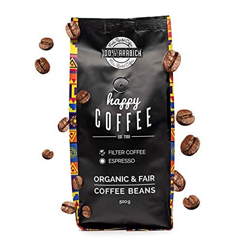 HAPPY COFFEE Bio Kaffeebohnen | Fairtrade Arabica Kaffee-Bohnen direkt aus Mexiko | Schonend geröstet in Hamburg | Perfekt für Kaffeeautomat und French Press | Im 500g Pack thumbnail