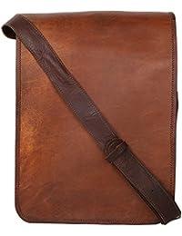 """Handcraft's """"Charlie"""" Handcrafted Brown Genuine Leather Plain/Solid Pattern Vintage Designer Laptop Bag Briefcase"""