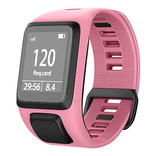 NotoCity Tomtom Runner 3 Armband/Runner 2/Spark 3/Adventurer/Golfer 2 Uhrenarmband Silikon Uhrenbänder für Tomtom Watch (Pink)