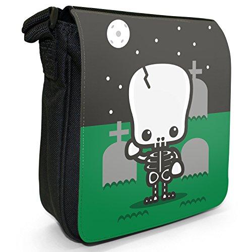 Kawaii Baby Monsters-Borsa a spalla piccola di tela, colore: nero, taglia: S Nero (Skeleton Graveyard Full Moon)