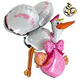 XXL 3D Folienballon Storch mit Baby It's A Girl 157cm Rosa - Baby Party Geburt Taufe Junge Babyshower Ballon Luftballon Riesenballon Pink