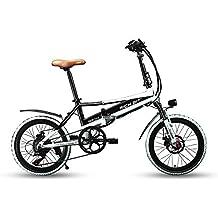 Eléctrica Plegable bicicleta de ciudad Hombres/Damas Bicicleta Bicicleta De Carretera rt700250W * 48V * 8Ah 20inch doble suspensión 7Speed desviador Shimano LG recargable Cell radios de doble disco de freno, blanco