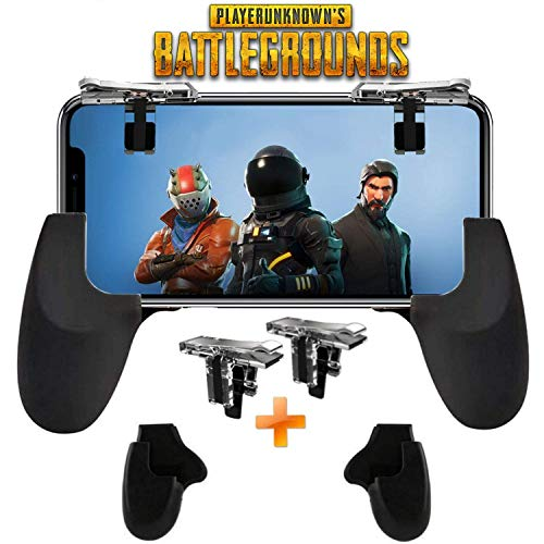 Fortnite PUBG Mobile Controller - SVZIOOG Mobile Game Controller (1 Paar + 1 Gamepad), Handy Game Trigger Mobile Gaming Joysticks für Android iOS Fortnite PUBG Mobile Triggers I