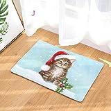 sunnymi Schlaf in den Weihnachtssocken Der Katze&Hund Stil Rutschfester Sockel Vorleger Weihnachten Teppich,Küche WC Badezimmer Weihnachten Badvorleger (40 * 60 cm, J)