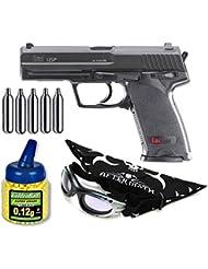 Pack Pistola airsoft Umarex U25561. H&K USP. Calibre 6mm. Potencia 1,3 Julios + Gafas antivaho + Biberon 1000 bolas + bombonas Co2