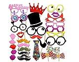 Freessom Photobooth Anniversaire Drole Kit de 31pcs HAPPY BIRTHDAY Chapeau Lunettes Moustaches Levres 40 ans 30 ans 50 ansProps Accessoires de Photos Accessoire de Déguisement Photomaton Vintage Bricolage Bubble DIY Deco Pour Fete Party Soiree Noel