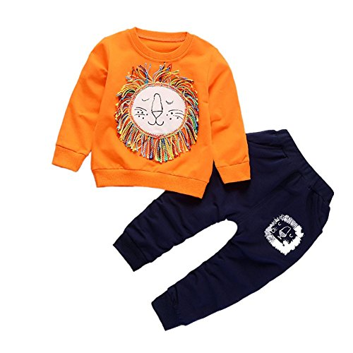 BOBORA Baby Boys Clothes Set Toddler Kids Long Sleeve Sweater Top with Lion Pants Outfits Tracksuits for 1-5Years