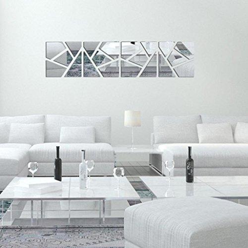 Vovotrade 4Pcs un Set Bricolage 3D Miroir Acrylique Autocollant Décoration Murale Décoration Amovible (Argent)