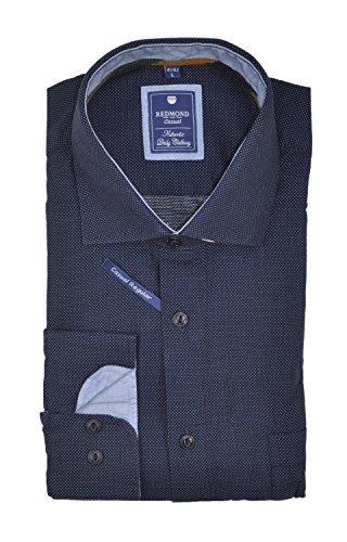 Redmond - Regular Fit - Herren Flanell Hemd mit Kent Kragen in Blau oder Grau (62120111/62120333) Blau(19)