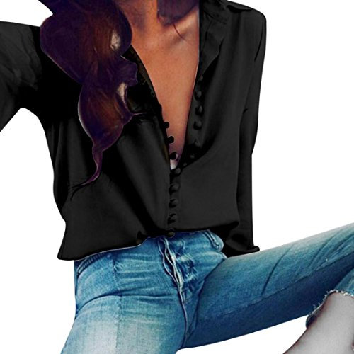Internet Damen Beiläufiges festes langes Hülsen Blusen Revers Hemd (S, schwarz) (Falte Hose Reverse)