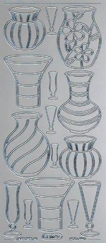 Unbekannt Starform Peel Off Motiv-Sticker 1181 silber Vasen -