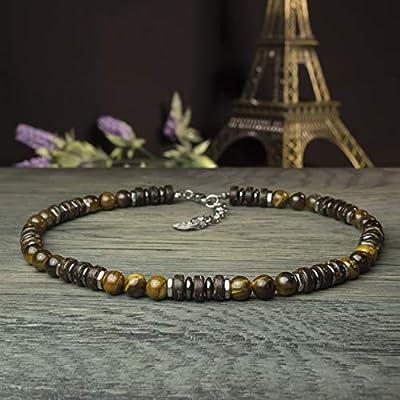 Sublime Collier Homme/Femme pierre Naturelle 8mm Œil de tigre bois coco hématite métal inoxydable couleur argent COLLITIGRIN