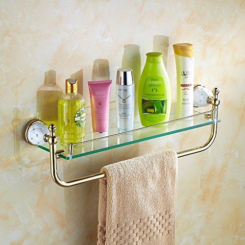 LHbox Tap Golden Handtuchhalter Edelstahl Keramik einfügen Bohrer Bad Handtuchhalter WC-Bürste Bar Badezimmer Handtuchhalter Kit mit Rod Racks -