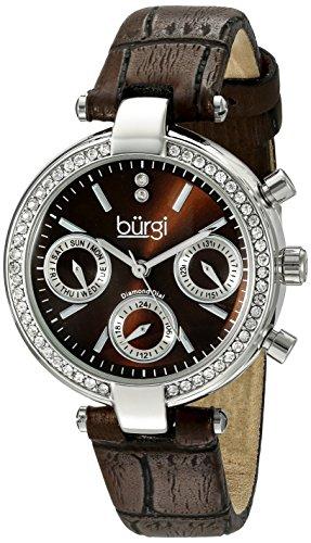 Burgi Femme Montre à quartz avec affichage analogique et bracelet en cuir marron Cadran Marron bur129br