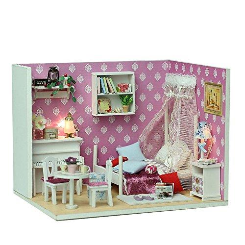 Miniatur-50 Licht-set (mxjeeio Puppenhaus 1 Stück Süß Miniatur Haus mit Licht Puppenhaus Bausatz Holz Modell Set Kreativ Geburtstag Geschenk für Mädchen Jungen Kreatives Geschenk)