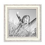 PHOTOLINI Bilderrahmen Shabby-Chic Landhaus-Stil Weiss 20x20 cm Massivholz mit Glasscheibe und Zubehör/Fotorahmen