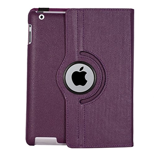 iPad 4 Cover, SPIDER Stand Flip Cover case 360 Degree Series PU Leather Premium 360 Degree Rotating SPIDER Stand Flip Cover case With auto wake sleep (Purple) 51Xr1oTsmSL