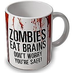 """Taza, diseño de zombies y sangre con inscripción en inglés """"Zombies eat brains"""""""