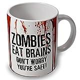 verytea Taza, diseño de zombies y sangre con inscripción en inglés Zombies eat brains