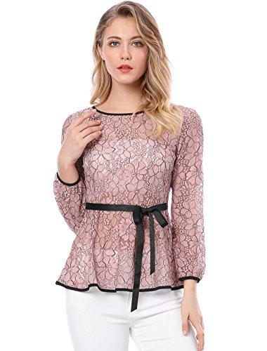 Allegra K Damen Taillenschnürung Formal Langarm Semi bloße Spitze Schößchen Top M (US 10) Rosa (Formale Schößchen Bluse)