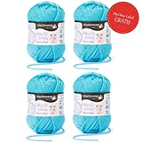 Baby Wolle türkis (Fb 1065) * 4x Baby Smiles Merino Wool Schachenmayr (je 25g) * Babywolle - Baby Merino Wolle – Baby Garn – super softes Babygarn Schachenmayr Baby Smiles + GRATIS MyOma Label