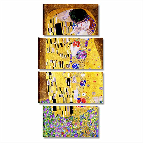 Cuadros L & C Italia–Klimt El beso XXL–cuadro moderno salón 152x 70cm Già ConKrea de colgar a pared The Kiss Impresión sobre lienzo Autori Gustav cuadros modernos dormitorio de cama Pósteres Arte Artisti famosi Muebles Salón Oficina Camera de cama cocina Hotel Canvas