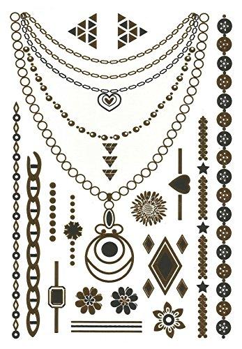 (3 Blätter) Juelz Metallisch temporär Schmuck Tattoo Gold, Silber & Schwarz Stammes Boho Fest Armbänder, Halsketten, Federn + Symbole