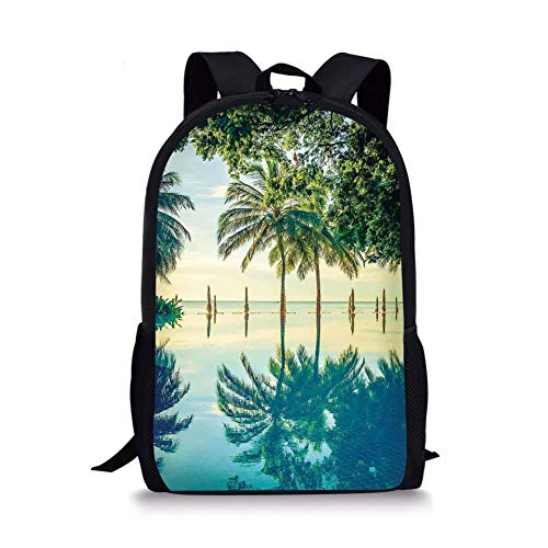 School Bags House Decor,Pool with Tree Silhouettes on The Surface No Filter Region Hot Spot Climate on Earth Decor,Green Blue for Boys&Girls Mens Sport Daypack - Green Panel Filter