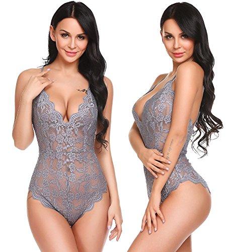 Aranmei body donna lingerie sexy esotico lingerie pizzo biancheria intima confortevole(grigio, large)