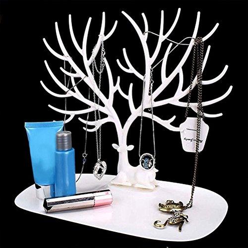 blanc Pixnor Bracelet porte bijoux grille collier Rack pour usage domestique Mat/ériel ABS cerf sapin