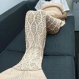 Meerjungfrau Decke Sofa Beach Quilt Cocoon Rug Mermaid Tail Handgefertigte Gehäkelt Decken Niedliche Strick Decken,Pink-190 * 90cm
