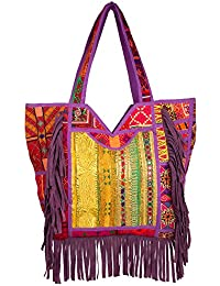 JaipurFabric Antique Zari Embroidered Patchwork With Suede Leather Fringes Hand Bag For Women & Girls