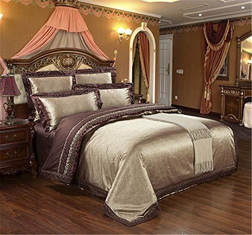 JSHECOVER Sliver Gold-Silk Satin Jacquard Bettbezug Bettwäsche Set Königin King Size Stickerei Spannbettlaken Set Color 8 King 4Pcs Bed Sheet Style